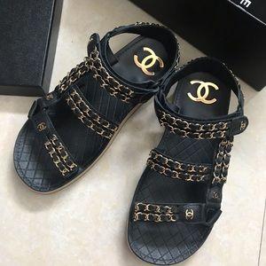 Chanel calfskin sandals